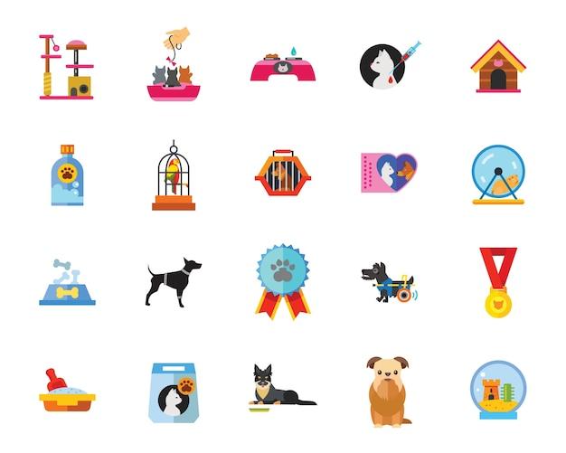 Conjunto de ícones de animais de estimação