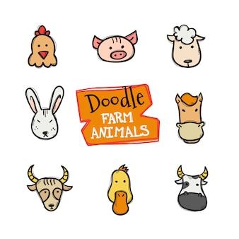 Conjunto de ícones de animais de fazenda estilo doodle. giro mão desenhada coleção de cabeças de animais