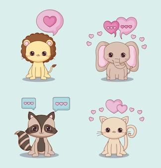 Conjunto de ícones de animais e corações de kawaii