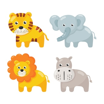 Conjunto de ícones de animais fofo isolado no branco.