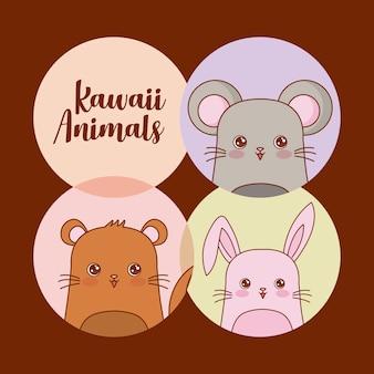 Conjunto de ícones de animais kawaii