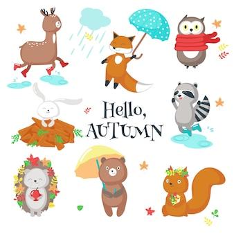 Conjunto de ícones de animais outono ilustração isolada
