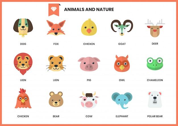 Conjunto de ícones de animais para negócios