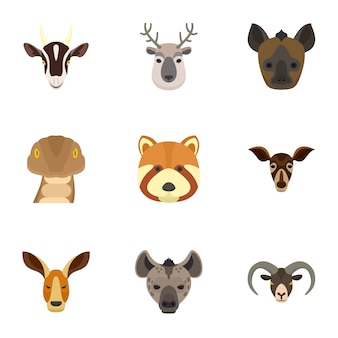 Conjunto de ícones de animais. plano conjunto de 9 ícones vetoriais animais