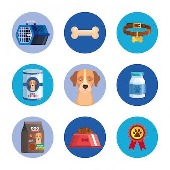 Conjunto de ícones de animal cachorro