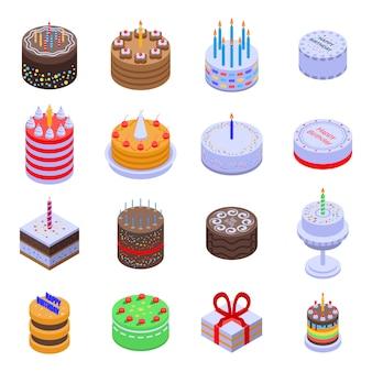 Conjunto de ícones de aniversário bolo, estilo isométrico