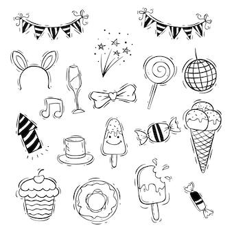 Conjunto de ícones de aniversário com sorvete, doces e cupcake