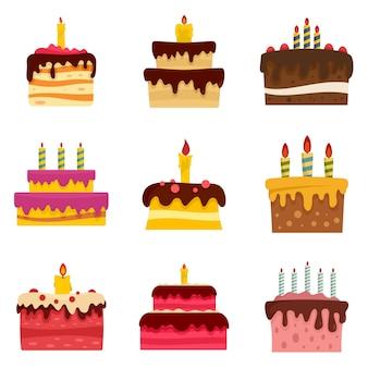 Conjunto de ícones de aniversário de bolo