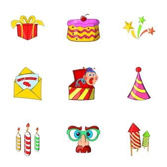 Conjunto de ícones de aniversário, estilo cartoon