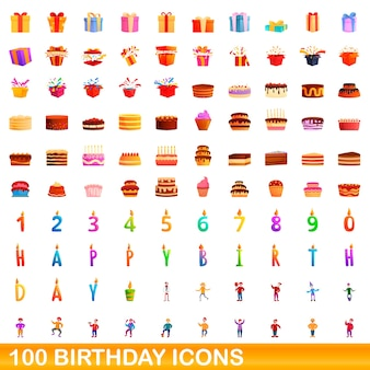 Conjunto de ícones de aniversário. ilustração dos desenhos animados de ícones de aniversário em fundo branco