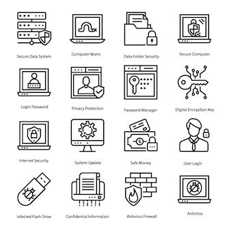Conjunto de ícones de antivírus