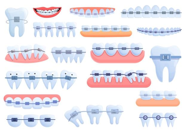 Conjunto de ícones de aparelho dentário. conjunto de desenhos animados de ícones de aparelho dentário para a web