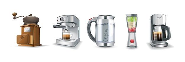 Conjunto de ícones de aparelhos domésticos de cozinha