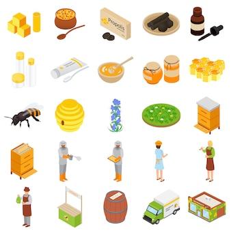 Conjunto de ícones de apiário de mel de própolis,