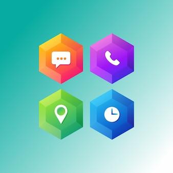 Conjunto de ícones de aplicativo de telefone Vetor Premium