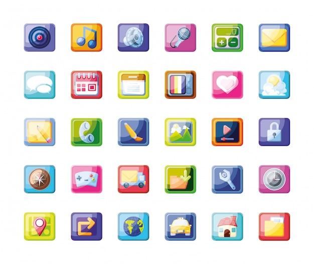 Conjunto de ícones de aplicativo móvel