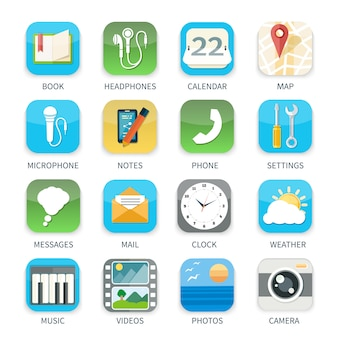 Conjunto de ícones de aplicativos de celular de música tempo calendário câmera vídeo em design plano isolado