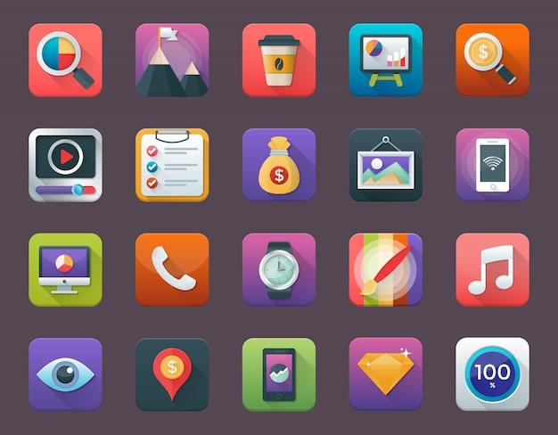 Conjunto de ícones de aplicativos de negócios e finanças