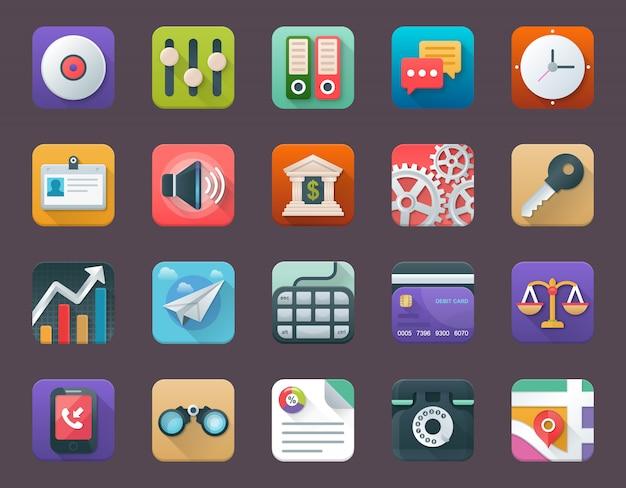 Conjunto de ícones de aplicativos de negócios