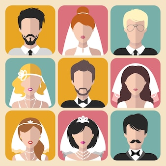Conjunto de ícones de aplicativos diferentes noivas e noivos em estilo simples.