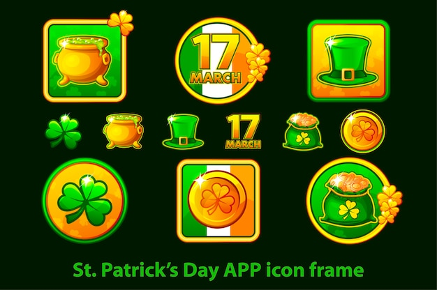 Conjunto de ícones de aplicativos em um quadro para o dia de st. patricks em um fundo verde.