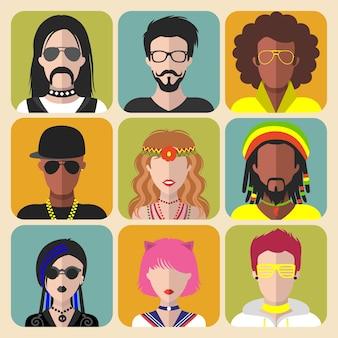 Conjunto de ícones de aplicativos masculinos e femininos de diferentes subculturas em um moderno estilo simples
