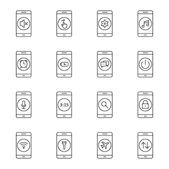Conjunto de ícones de aplicativos móveis