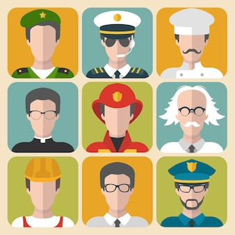 Conjunto de ícones de app de homem e mulher de diferentes profissões em estilo simples.