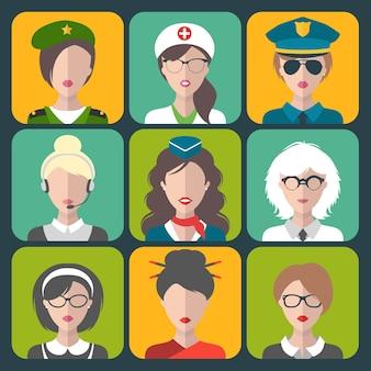 Conjunto de ícones de app de mulheres de diferentes profissões em estilo simples.