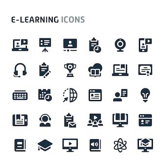Conjunto de ícones de aprendizagem. série de ícone preto fillio.