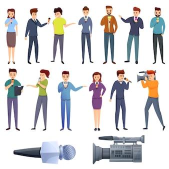 Conjunto de ícones de apresentador de tv, estilo cartoon