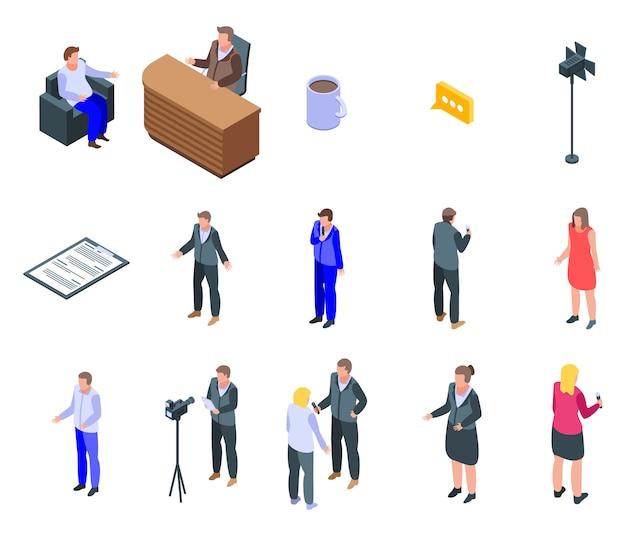 Conjunto de ícones de apresentador de tv