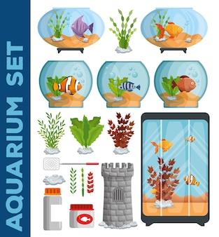 Conjunto de ícones de aquários bonitos