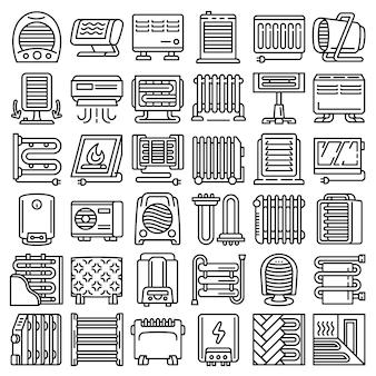 Conjunto de ícones de aquecedor elétrico, estilo de estrutura de tópicos