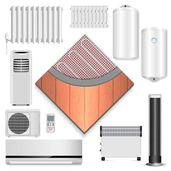 Conjunto de ícones de aquecedor elétrico