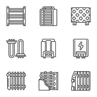 Conjunto de ícones de aquecedor, estilo de estrutura de tópicos