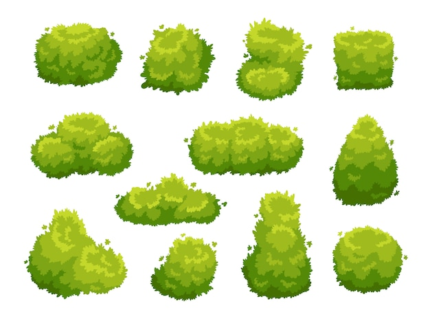 Conjunto de ícones de arbustos de vegetação de jardim verde