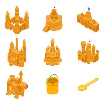 Conjunto de ícones de areia do castelo, estilo isométrico