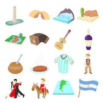 Conjunto de ícones de argentina em vetor de estilo dos desenhos animados