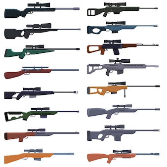 Conjunto de ícones de armas de atirador furtivo. conjunto de desenhos animados de ícones de armas de atirador para a web
