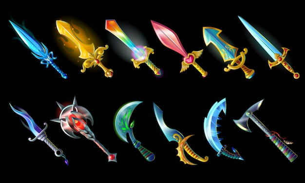 Conjunto de ícones de armas de desenho animado