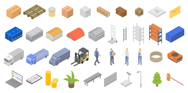 Conjunto de ícones de armazém, estilo isométrico