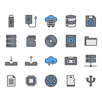 Conjunto de ícones de armazenamento de arquivo