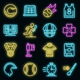 Conjunto de ícones de arremesso. conjunto de contorno de ícones de vetor de arremesso cor de néon no preto