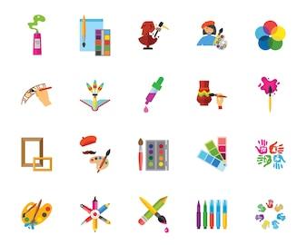 Conjunto de ícones de arte e artesanato
