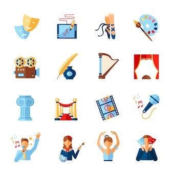 Conjunto de ícones de arte e cultura