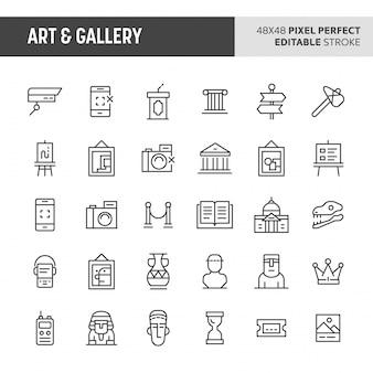 Conjunto de ícones de arte e galeria