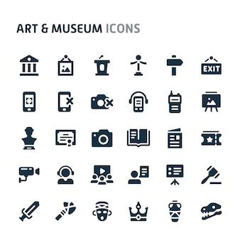 Conjunto de ícones de arte e museu. série de ícone preto fillio.