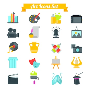 Conjunto de ícones de arte em design plano com longas sombras