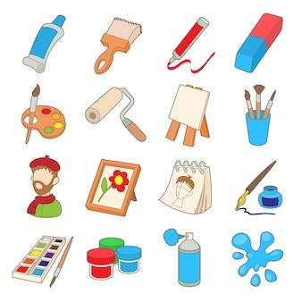 Conjunto de ícones de arte em estilo cartoon, isolado no fundo branco